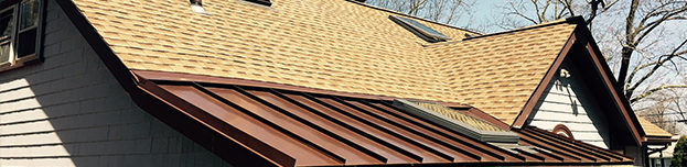 shingle roof with metal roof accent